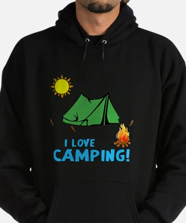 I love camping-3-Blue Hoodie