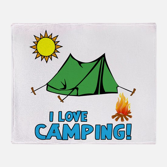 I Love Camping-3-Blue Throw Blanket