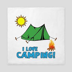 I Love Camping-3-Blue Queen Duvet