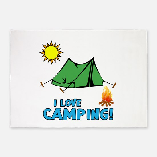 I Love Camping-3-Blue 5'x7'area Rug