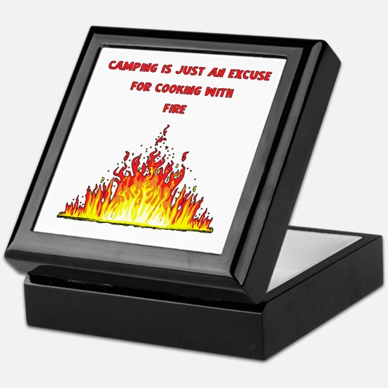 Camping Excuse To Cook With Fire-1 Keepsake Box