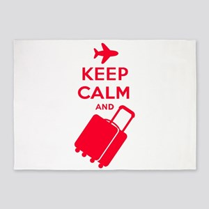 Keep Calm and Carry on Luggage 5'x7'Area Rug