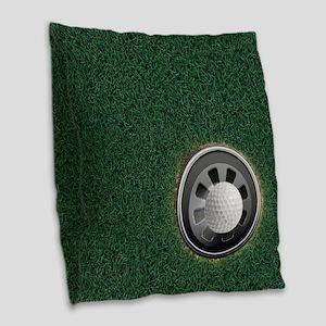Golf Cup and Ball Burlap Throw Pillow