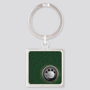 Golf Cup and Ball Square Keychain