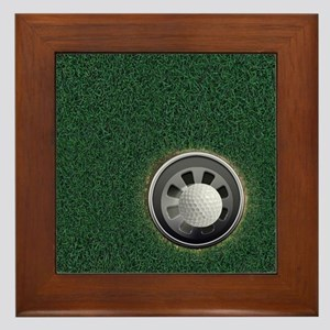 Golf Cup and Ball Framed Tile