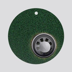 Golf Cup and Ball Round Ornament