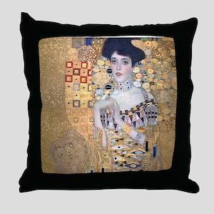 Klimt Lady In Gold Art Deco Throw Pillow
