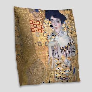 Klimt Lady In Gold Art Deco Burlap Throw Pillow