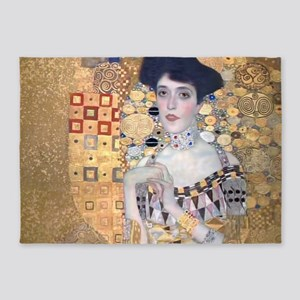 Klimt Lady In Gold Art Deco 5'x7'Area Rug