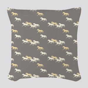 Gray And Yellow Trotting Horses Woven Throw Pillow