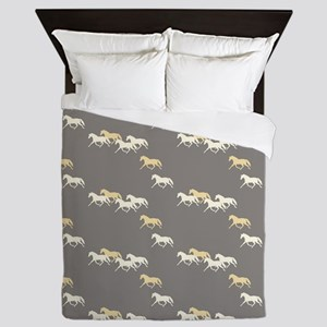 Gray and Yellow Trotting Horses Pattern Queen Duve