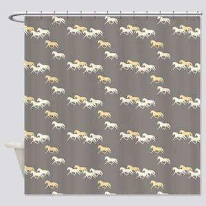 Gray and Yellow Trotting Horses Pattern Shower Cur