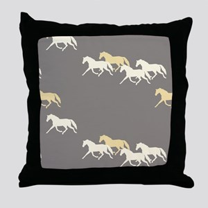 Gray and Yellow Trotting Horses Pattern Throw Pill