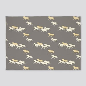Gray and Yellow Trotting Horses Pattern 5'x7'Area