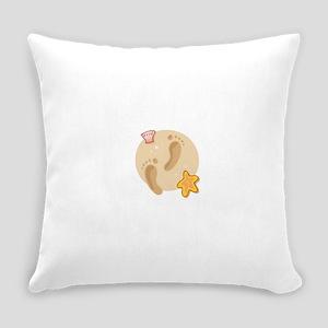 FOOTPRINTS, SAND, SEASHELLS Everyday Pillow