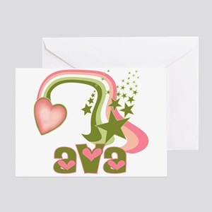 Rainbows & Stars Ava Personalized Greeting Card