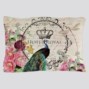 Peacock and spring flowers Pillow Case