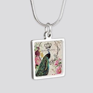 Peacock and spring flowers Necklaces