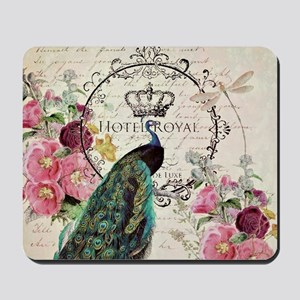 Peacock and spring flowers Mousepad