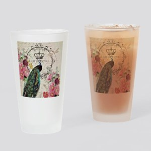 Peacock and spring flowers Drinking Glass