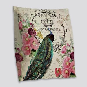 Peacock and spring flowers Burlap Throw Pillow