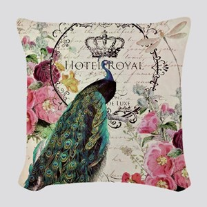 Peacock and spring flowers Woven Throw Pillow