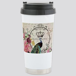 Peacock and spring flow Stainless Steel Travel Mug