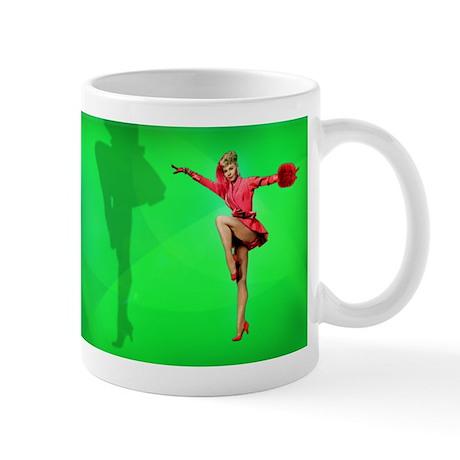 Vera-Ellen Dancing on green background Mugs
