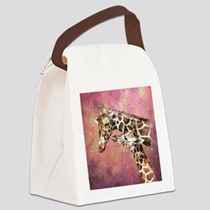 Giraffe Mom and Baby Canvas Lunch Bag