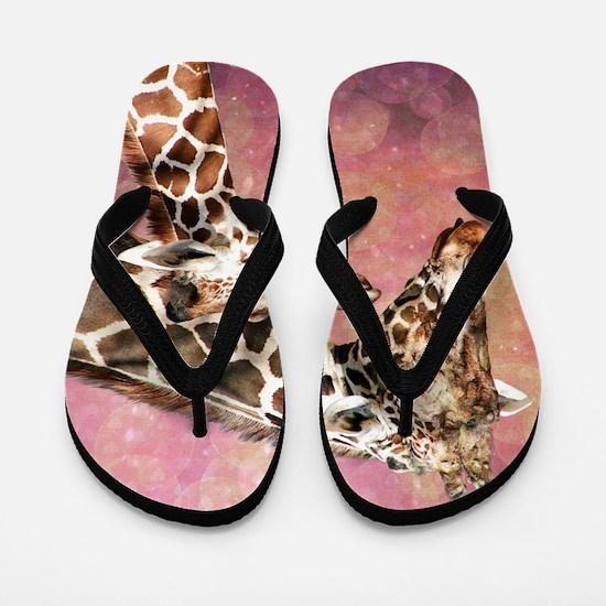 Giraffe Mom and Baby Flip Flops