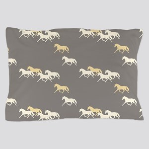 Gray and Yellow Trotting Horses Pattern Pillow Cas