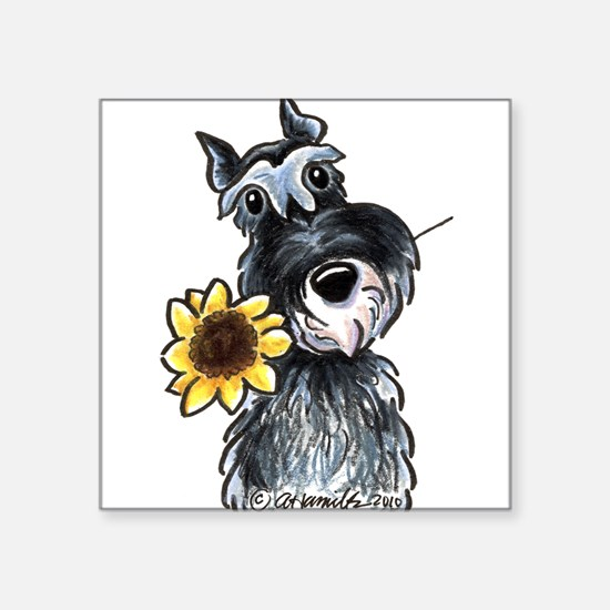 "Cute Black and white sunflowers Square Sticker 3"" x 3"""