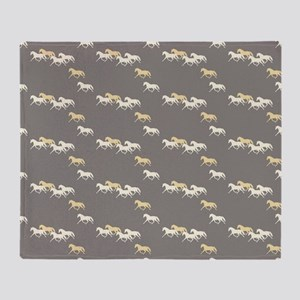 Gray and Yellow Trotting Horses Pattern Throw Blan