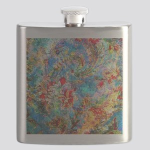 Colorful Grunge Floral Collage Flask