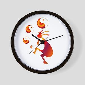 Kokopelli with Yin Yang Red Wall Clock