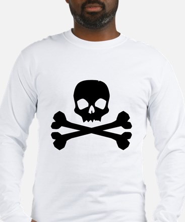Skull Crossbones Black Long Sleeve T-Shirt
