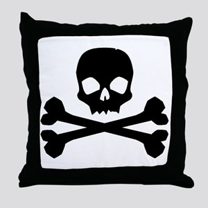 Skull Crossbones Black Throw Pillow