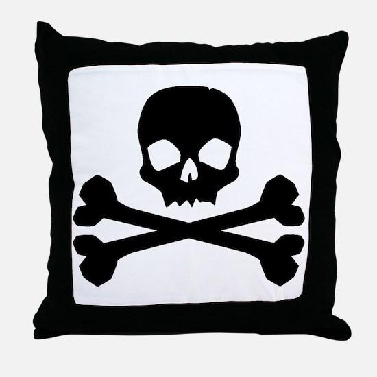 Skull Crossbones Black Throw Pillow
