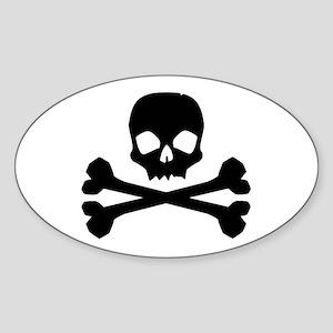 Skull Crossbones Black Oval Sticker