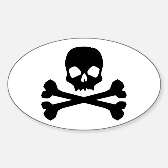 Skull Crossbones Black Oval Decal