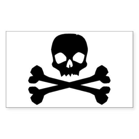 Skull Crossbones Black Rectangle Sticker