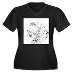 Cheetah Great Cat Women's Plus Size V-Neck Dark T-