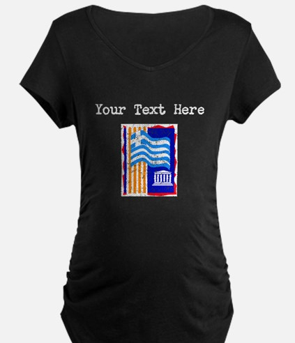 Greece Flag (Distressed) Maternity T-Shirt