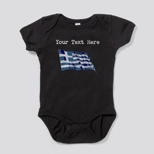 Greece Flag (Distressed) Baby Bodysuit