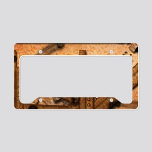 Rusty metal pipes License Plate Holder