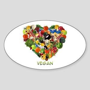 I Love Vegan Oval Sticker