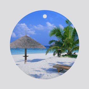 Tropical Beach Ornament (Round)