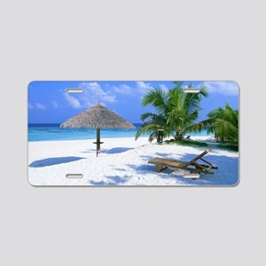 Tropical Beach Aluminum License Plate