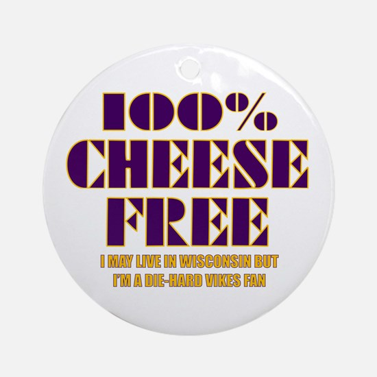 100% Cheese Free - MN Ornament (Round)