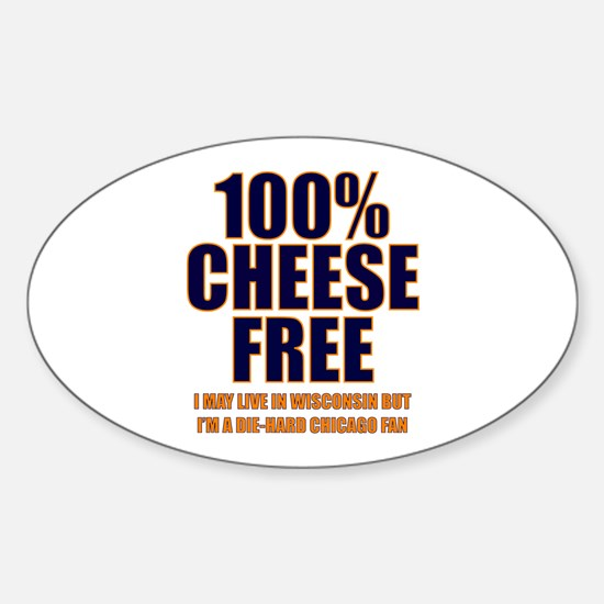 100% Cheese Free - Chi Oval Decal